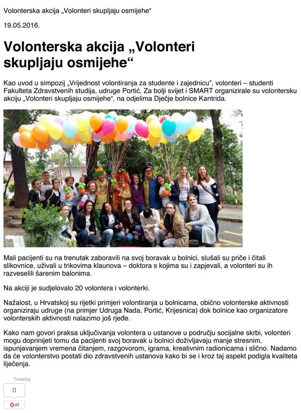 """Volonterska akcija """"Volonteri skupljaju osmijehe"""" – Moja R"""